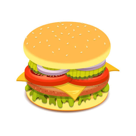 Realistic hamburger sandwich vector design illustration isolated on white background