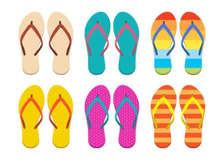 Flip flops set vector design illustration isolated on white background