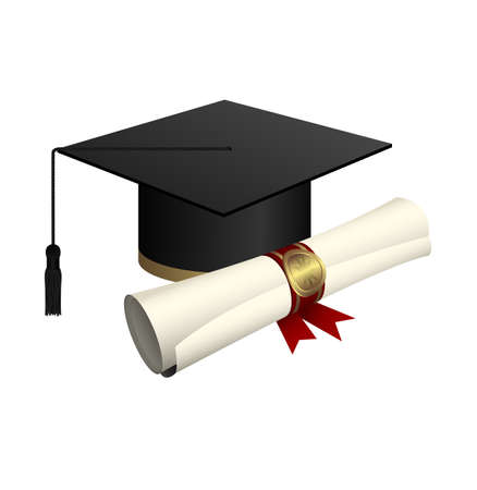 Graduation cap and diploma vector design illustration isolated on white background