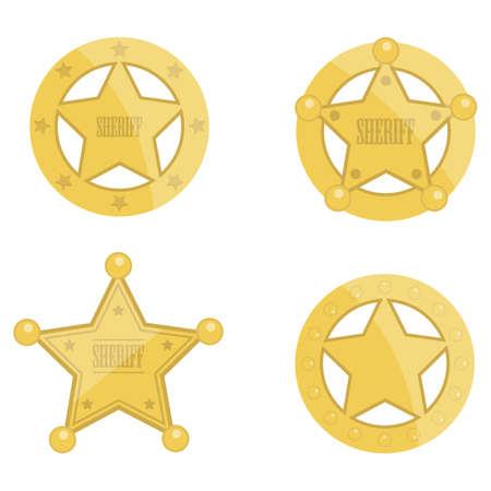 Sheriff golden star badge vector design illustration isolated on white background
