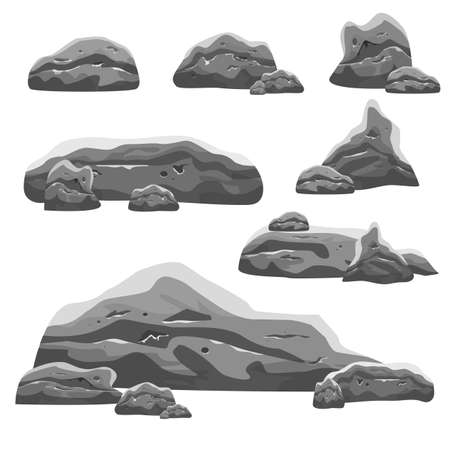 Set of different stones vector design illustration isolated on white background Vector Illustratie