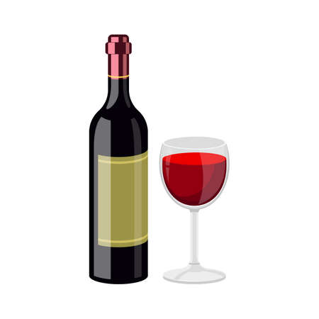 Wine bottle and glass vector design illustration isolated on white background