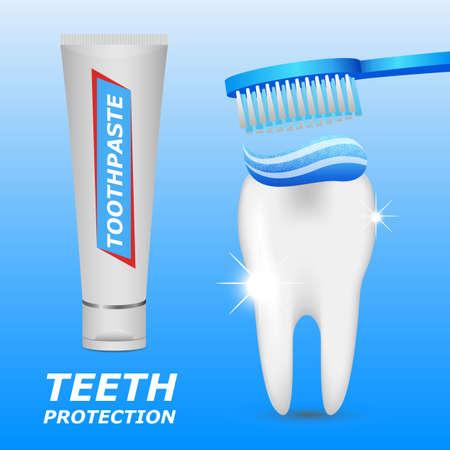 Dental hygiene vector design illustration isolated on blue background Vector Illustratie