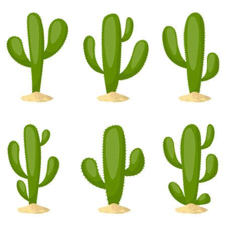 Cactus set vector design illustration isolated on white background