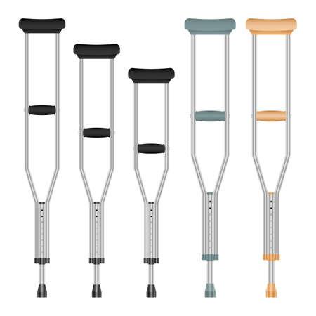 Medical crutches set vector design illustration isolated on white background Vettoriali