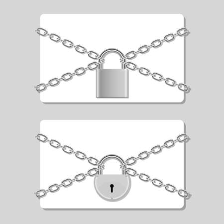 Credit card in chain locked with padlock vector design illustration isolated on background