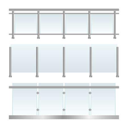 Glass railing set vector design illustration isolated on white background Vector Illustratie