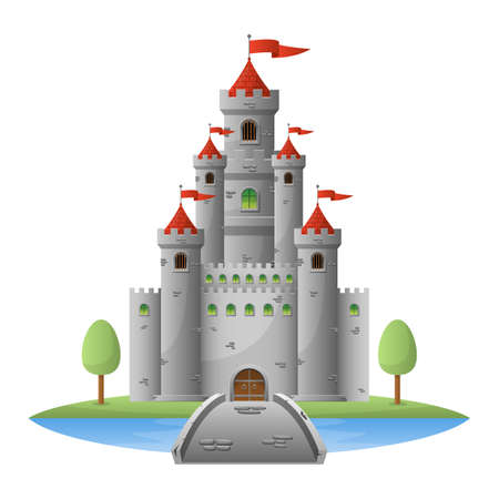 Medieval castle vector design illustration isolated on white background Archivio Fotografico - 151283058