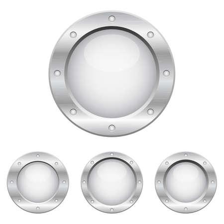 Metallic porthole set vector design illustration isolated on white background