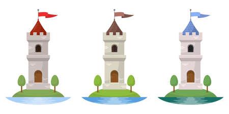 Medieval castle vector design illustration isolated on white background Archivio Fotografico - 151283071