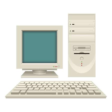 Old vintage pc vector design illustration isolated on white background Vector Illustration