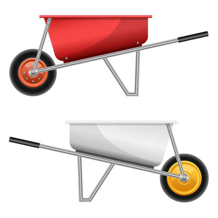 Realistic wheelbarrow vector design illustration isolated on white background