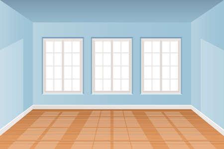 Realistic room interior with wooden floor vector design illustration