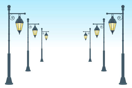 Vintage street lamp vector design illustration isolated on white background 矢量图像