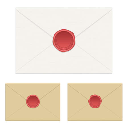 Wax seal envelope vector design illustration isolated on white background Illustration