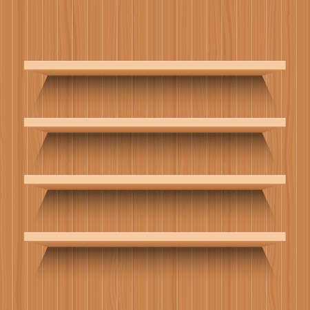 Wooden shelf vector design illustration isolated wooden background
