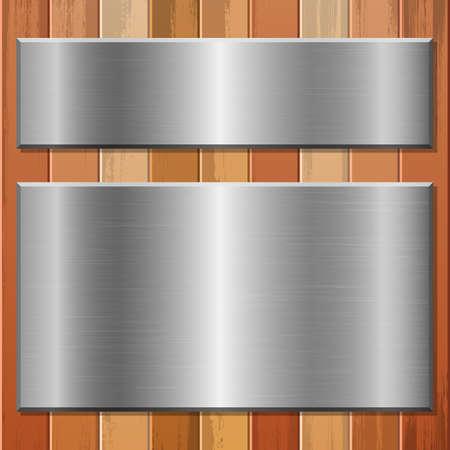 Metallic plate on wooden background vector design illustration