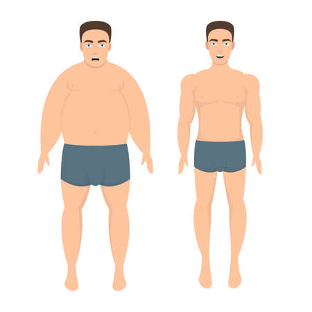 Weight loss man vector design illustration isolated on white background
