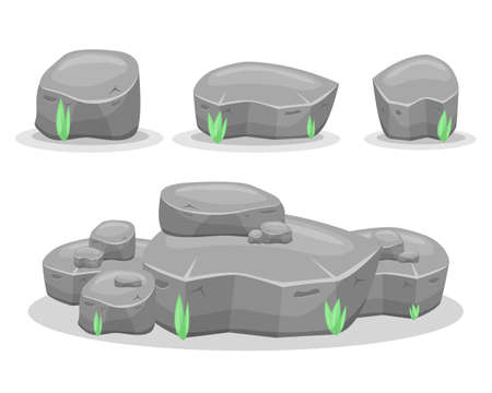 Boulder stones vector design illustration isolated on white background. Game assets