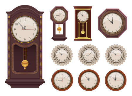 Vintage wall clock vector design illustration isolated on white background