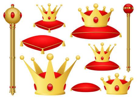Golden king crown and scepter clipart vector design illustration. King set. Vector Clipart Print Vecteurs