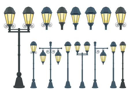 Vintage street lamp vector design illustration isolated on white background Illusztráció
