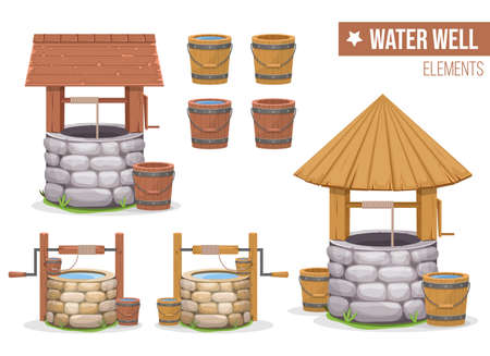 Old water well vector design illustration isolated on white background Illustration
