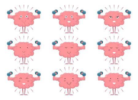 Brain training with dumbbell vector design illustration isolated on white background Vektorové ilustrace
