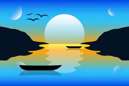 Sunset landscape background vector design illustration. Nature landscape