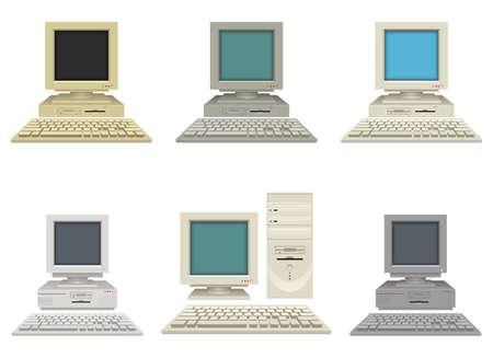 Old vintage pc vector design illustration isolated on white background 向量圖像