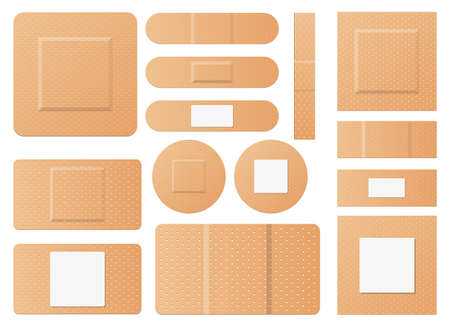 Set of medical patches vector design illustration isolated on white background Vektorgrafik