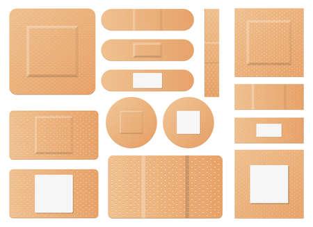 Set of medical patches vector design illustration isolated on white background Vektoros illusztráció