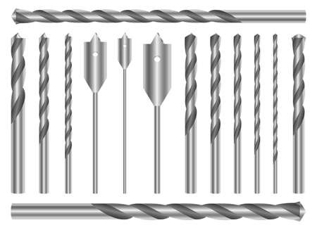 Metallic drill set vector design illustration isolated on white background