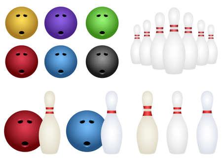 Bowling set vector design illustration isolated on white background 向量圖像