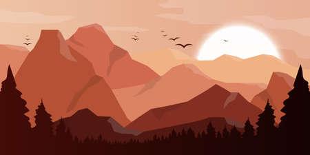 Mountain beautiful landscape background vector design illustration Vetores
