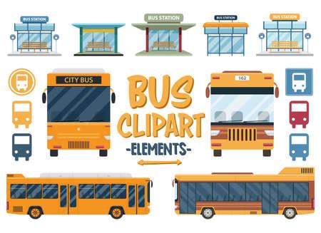 Set of bus travel clipart. City, bus, autobus, travel, station, flat, tourism, transport set. Vector Clipart Print