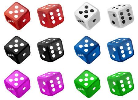 Set of casino dice vector design illustration isolated on white background Vector Illustration