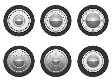 Retro car wheel vector design illustration isolated on white background