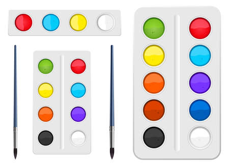 Watercolors tool set vector design illustration isoalted on white background