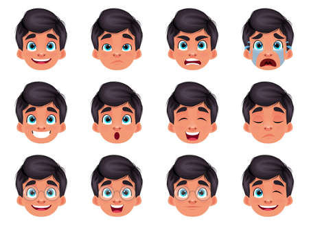 Boy face expression vector design illustration isolated on white background