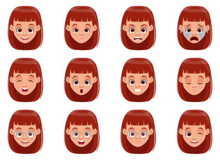 Little girl face expressions vector design illustration isolated on white background