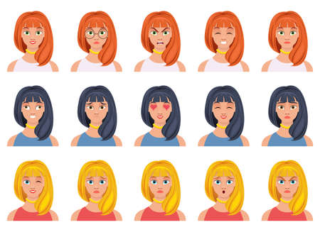 Woman face expression vector design illustration isolated on white background Vettoriali