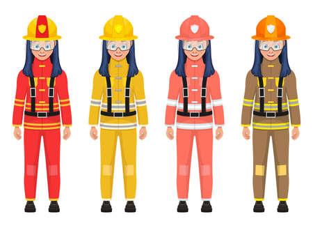 Girl firefighter vector design illustration isolated on white background