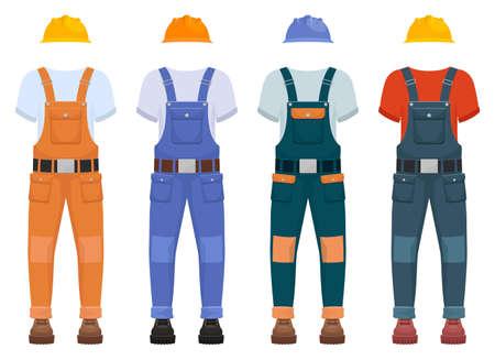 Overall construction uniform vector design illustration isolated on white background Vettoriali