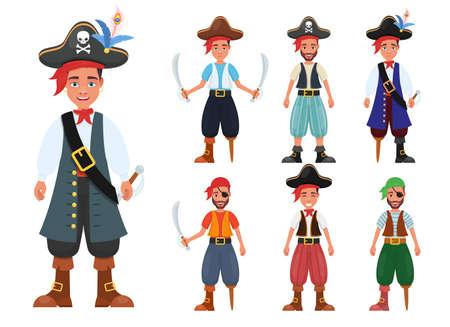 Pirate man vector design illustration isolated on white background Vettoriali