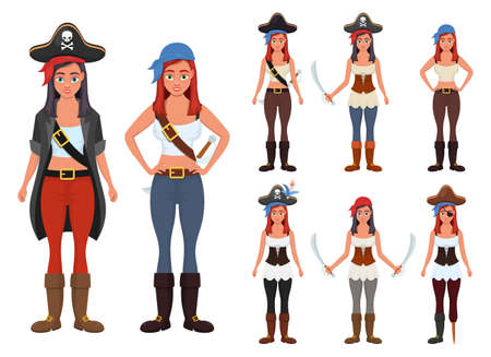 Pirate woman vector design illustration isolated on white background