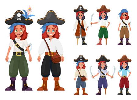 Pirate little girl vector design illustration isolated on white background