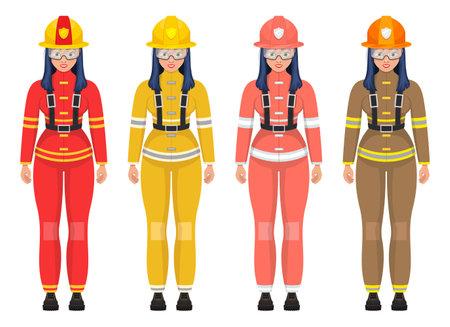 Woman firefighter vector design illustration isolated on white background Vettoriali