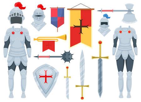 Knight set vector design illustration isolated on white background Vettoriali