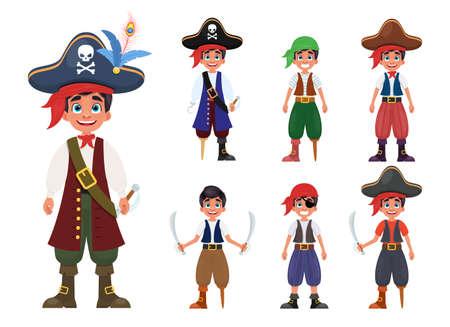 Pirate boy vector design illustration isolated on white background Vettoriali